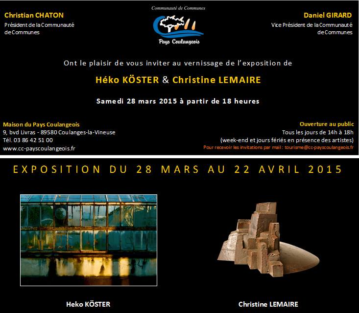 Exposition of Heko Köster and Christine Lemaire in Coulange la Vineuse from March 28 till April 22 2015