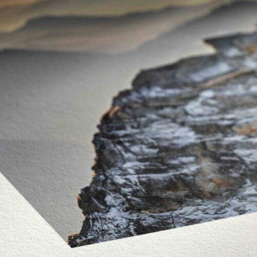 Detail van Hahnemuhle Hemp 290gsm, het ruwe en toch delikate oppervlak, het subtiele verfijnde karakter